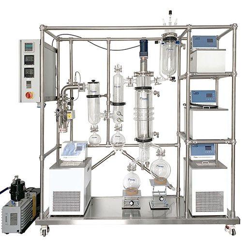 Lab Advanced CBD Oil Extractor Glass and Stainless Steel Combined Sliding Wiped Film Evaporator Short Path Molecular Distiller