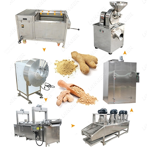 Ginger Washing Peeling Drying Processing Ginger Powder Grinding Machine
